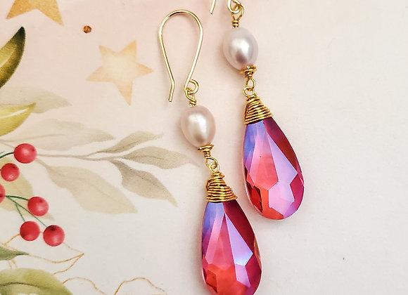 Rose Pearl Crystal Earring