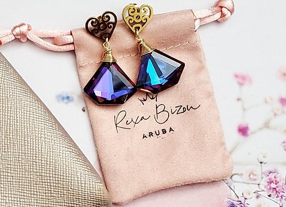 Purple Diamond Shape Earring