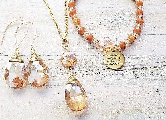 Gold/Champagne Crystal Bead Set