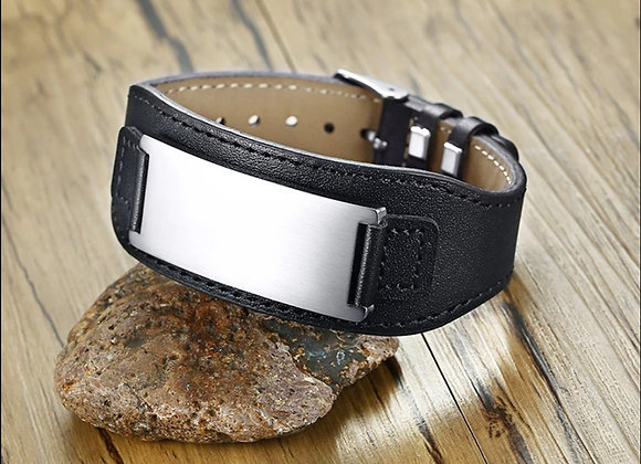 Extra Large Leather Bracelet with Steel Plate