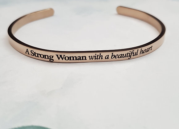 Strong Woman with a Beautiful Heart Bangle