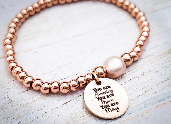 Rosegold Pearl Beaded Bracelet