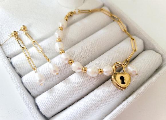 Half & Half Pad Lock Bracelet and Earring set