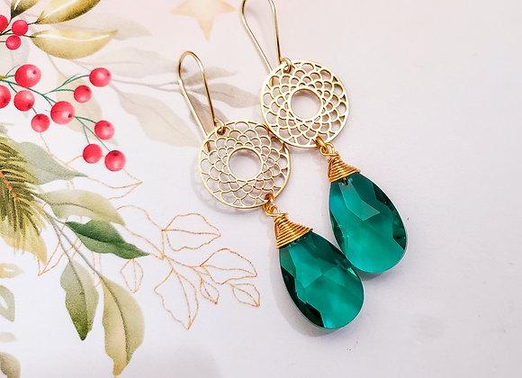 Emerald Green Fan Earring