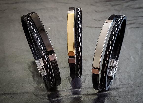 Leather Stainless Steel Man Bracelet