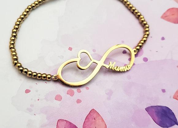 Infinity Mama beaded heart Bracelet