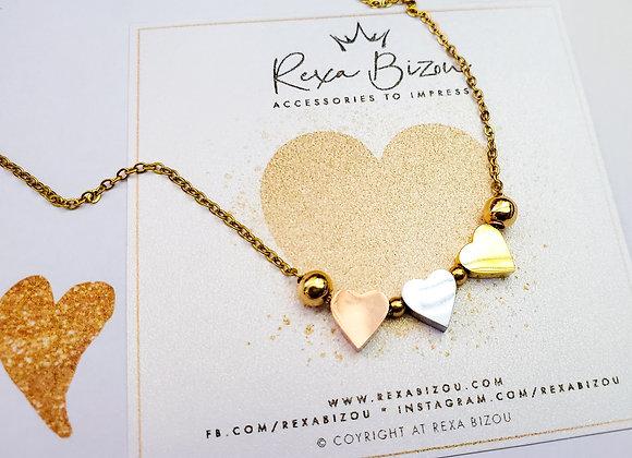 Tri-color heart Necklace