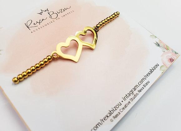 Double Heart Beaded Bracelet