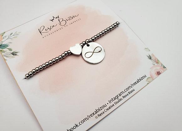 Infinity Silver Beaded Bracelet