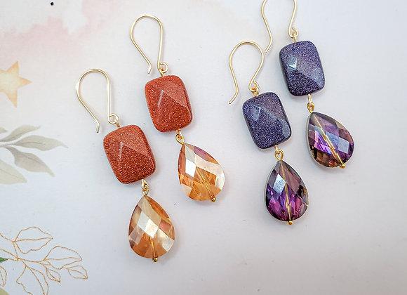 Sand Stone Crystal Earring