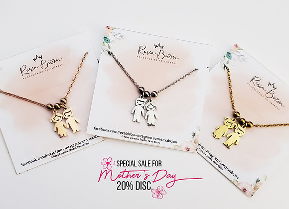 Personalized Kids Charms Necklace Stainless Steel