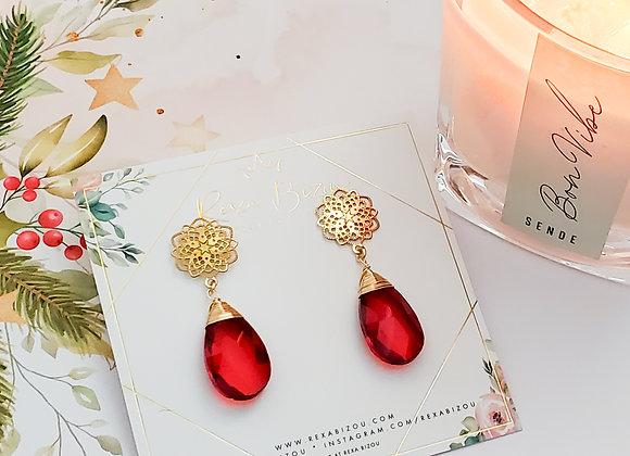 Red Flower Drop Earring