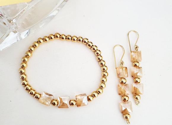 Triple Square Bracelet and Earring Set