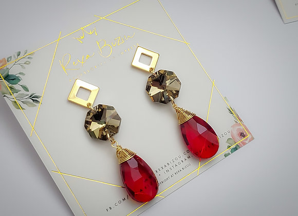 Pentagon drop Crystal Earring