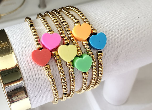 Heart of Clay and Color Beaded Bracelet