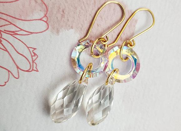 Orbit Drop Aurora Crystal Earring