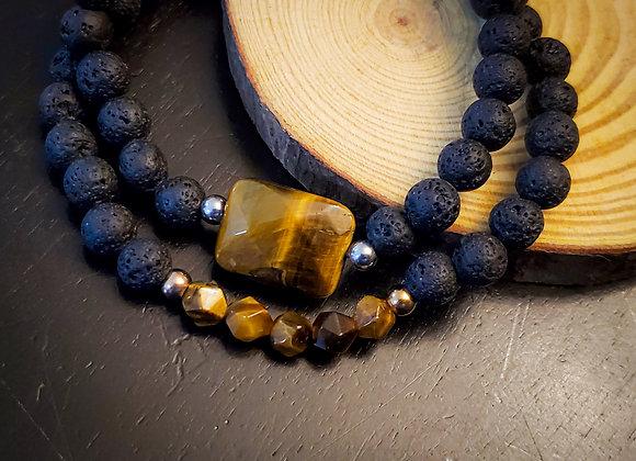 Tiger Eye Lava Bead Strech Bracelet
