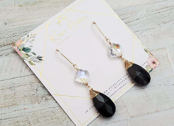 Black and White Tear Drop Crystal Earrings