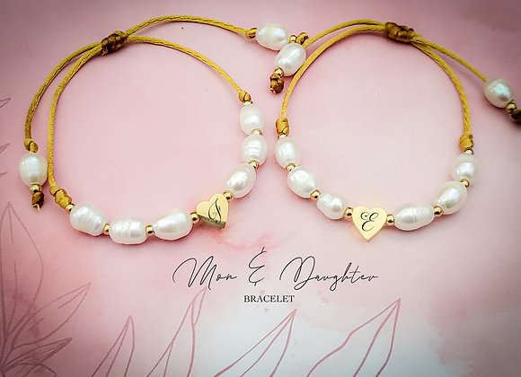 Mom and Daughter Pearl  Matching Bracelet (2pc)