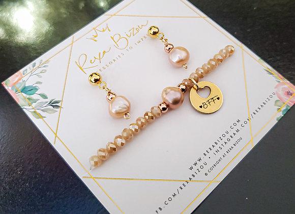 Gold Tone Crystal Beads Set