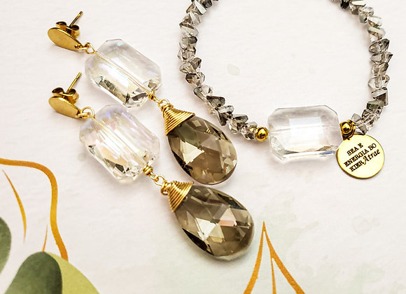 Grey Toned Earring & Bracelet Set