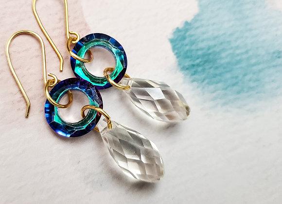 Orbit Drop White Crystal Earring