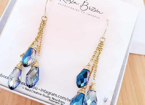 Crystal Triple Droplets Earrings