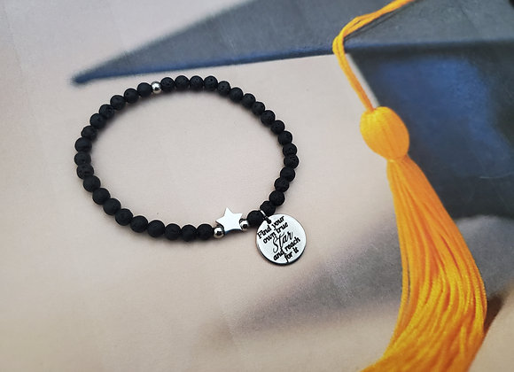 Lava bead with silver star bracelet for students