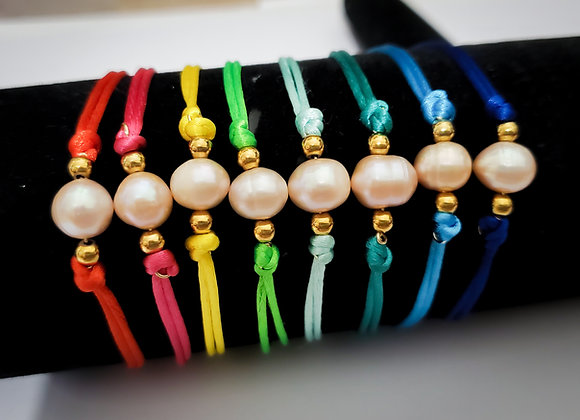 Single Pearl Cord Bracelet