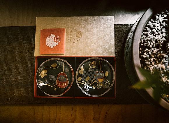 石塚硝子 mono系列豆皿醬料小碟 招財貓 (1對)