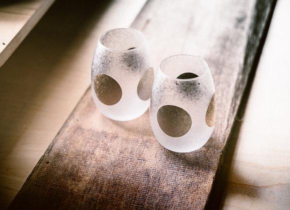 日月石塚硝子 和小紋玻璃杯 日月對杯組 (大)