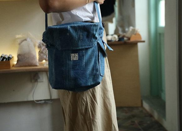 藍染縫線面具袋