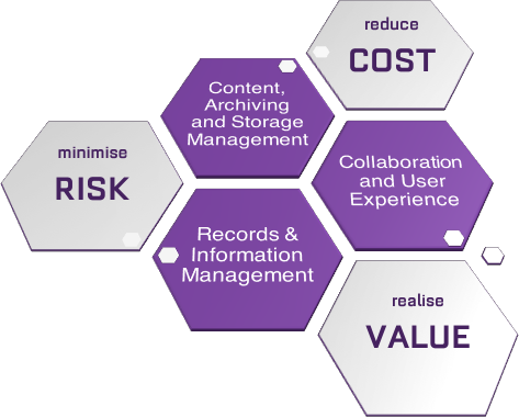 Reduce Cost, Minimise Risk and Realise Value through RIM, Collaboration and User Expereience and effective Content, Archiving and Storage Management