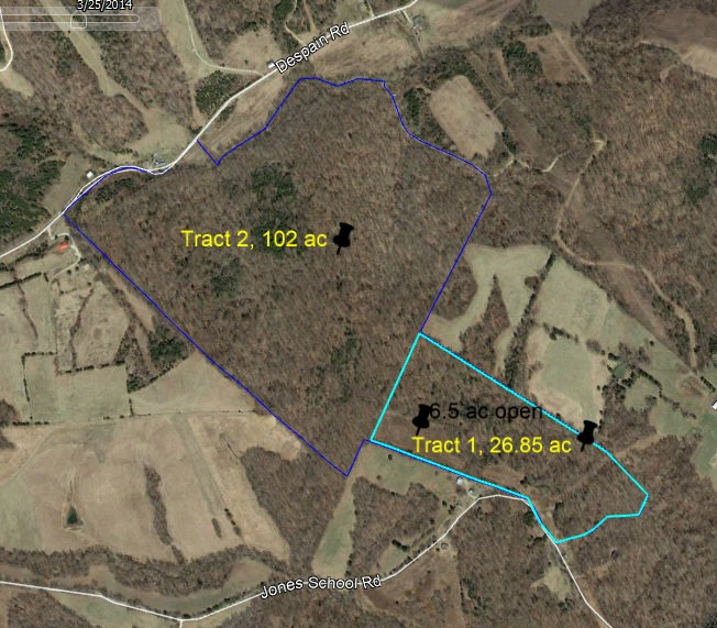 130 acre aerial map of land tracts for sale.