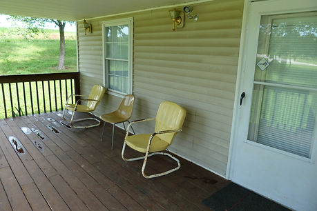 This is the beautiful front porch where you can relax and tell deer hunting stories about the big bucks that got away.