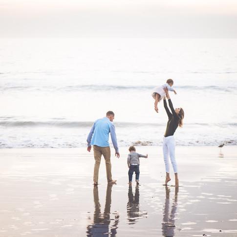 Sunset ocean family bliss