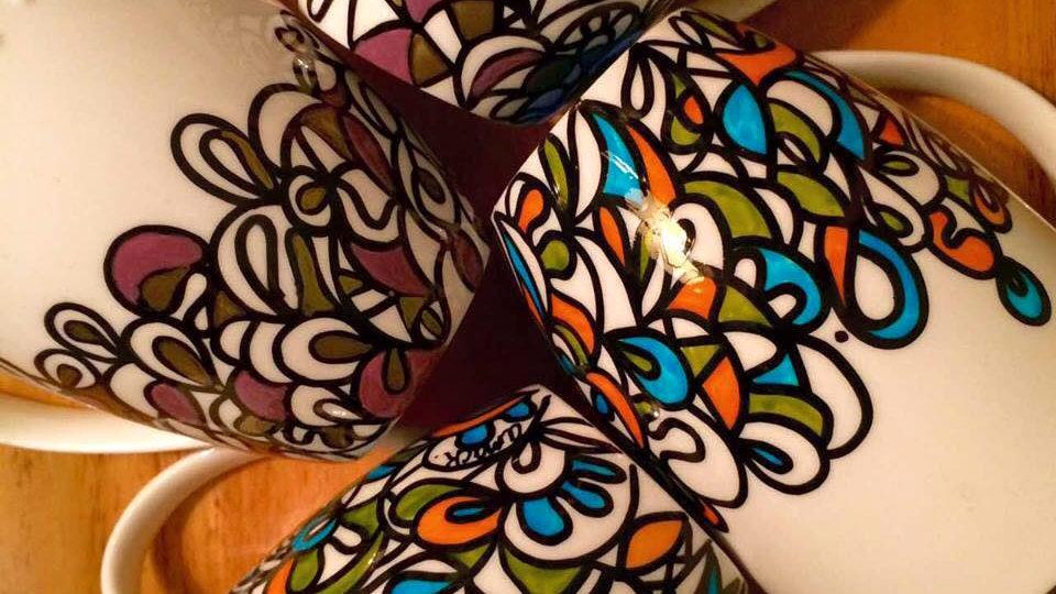 Hand Painted Ceramic Mug Set (2)