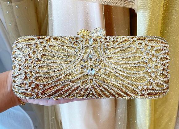 Gold Swirl Crystal Clutch