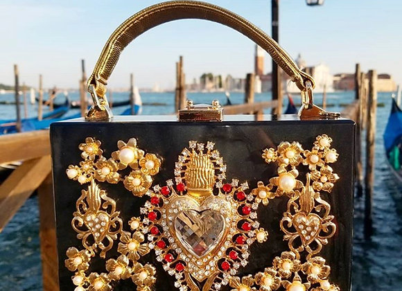 Heart and Pearl Acrylic Handbag