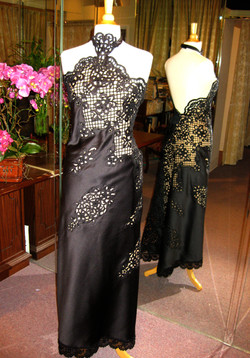 Satin Lace Gown With Nude Lining