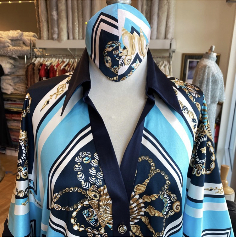 One of a kind silk blouse with matching face mask
