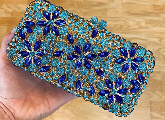 Turquoise & Sapphire Floral Crystal Clutch