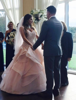 Blush Pink Lace and Organza Wedding Gown