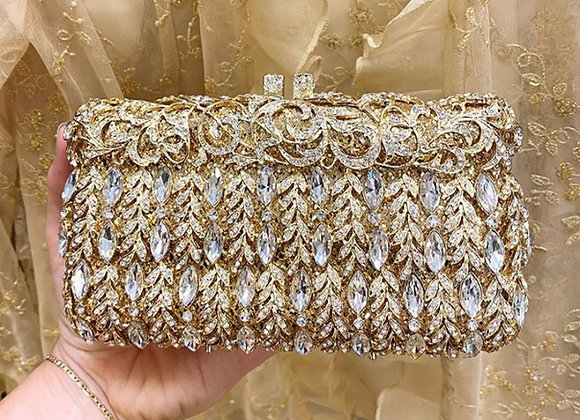 Gold and Silver Leaf Crystal Clutch