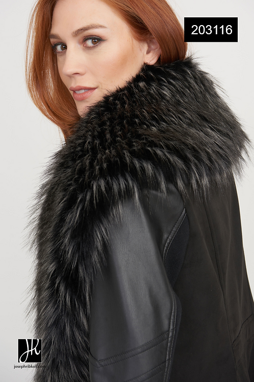Faux Fur Collar Coat by Joseph Ribkoff    203116