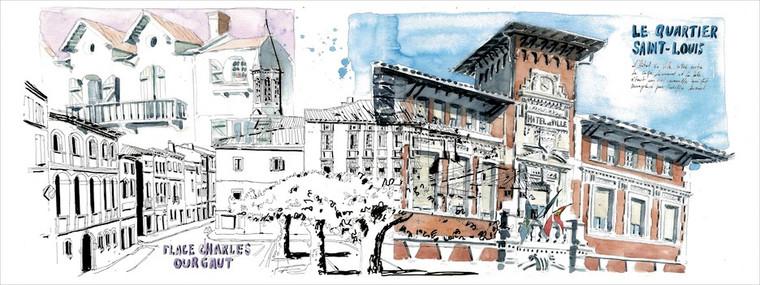 Le quartier Saint Louis acquerello e pen