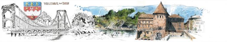 Villemur sur Tarn acquerello e pennino s