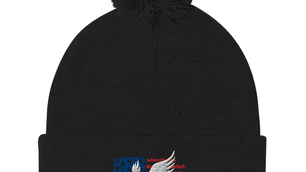 American Flag with Bird Pom-Pom Beanie