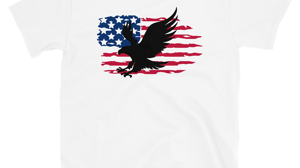 American Flag with Bird Short-Sleeve Unisex T-Shirt