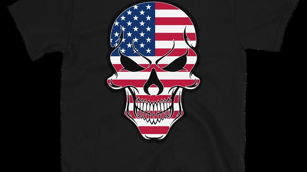 Skull American Flag Short-Sleeve Unisex T-Shirt